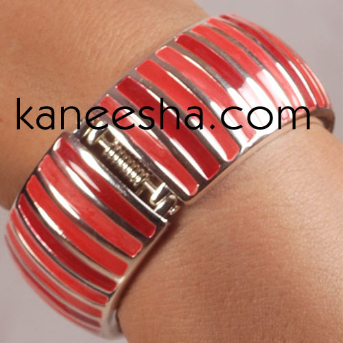 Cerise & Coral Pink Enamel Charm Bangle Bracelet for Women