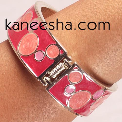 Cerise & Coral Pink Enamel Bangle Bracelet