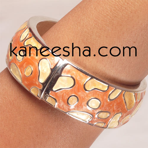 Coral/Peach Enamel Bangle Bracelet