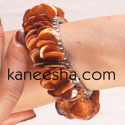 Rust Mother of Pearl Fashion Bracelet