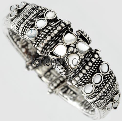 Oxidized Silver Fashion Bangle Bracelet