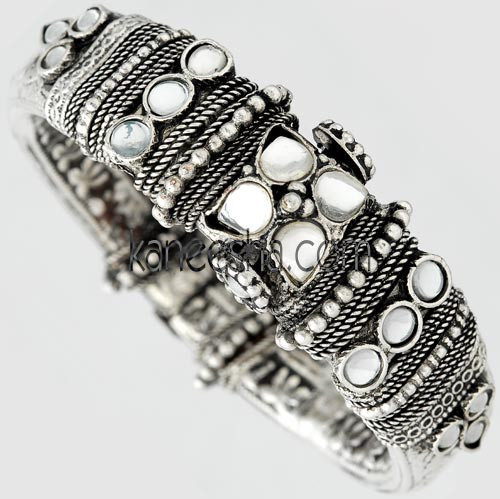 Oxidized Silver Fashion Bangle Bracelet