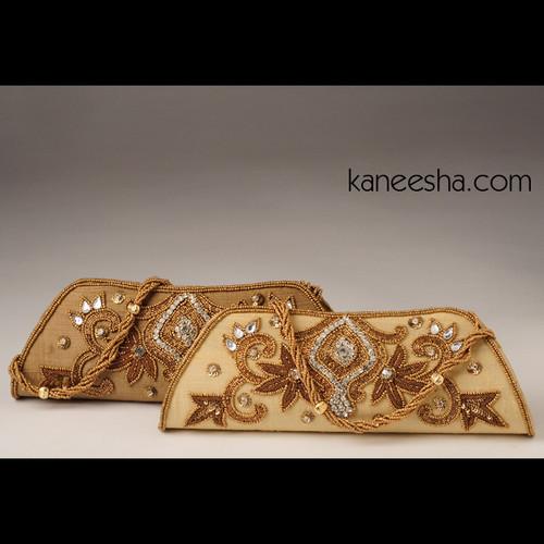 Golden Silk Purse with Golden Beads