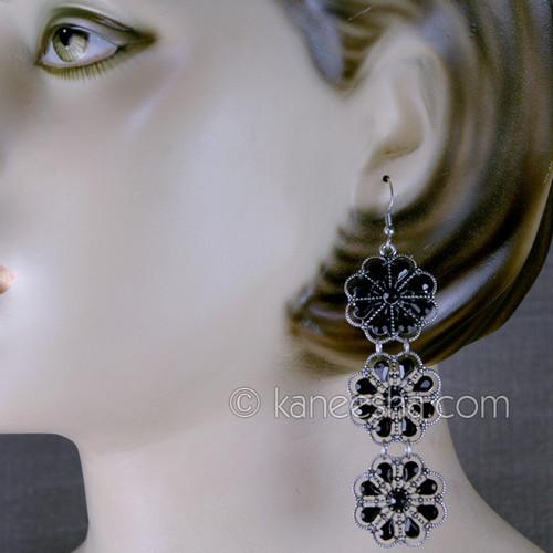 Black Floral East Indian Earrings