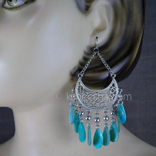 Silver Tone Hoop Evening Earrings