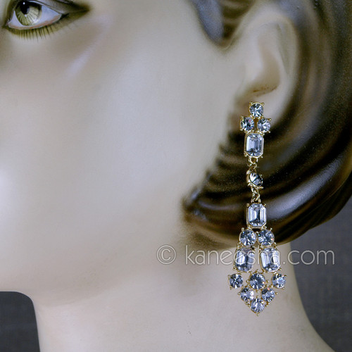 Linear Graduated Crystal Drop Earrings