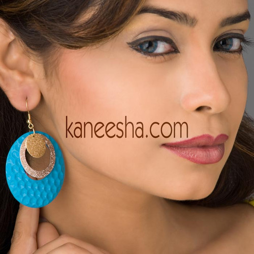 Turquoise Disc Earrings-50% price reduction