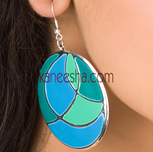 Turquoise Hanging Disc Earrings