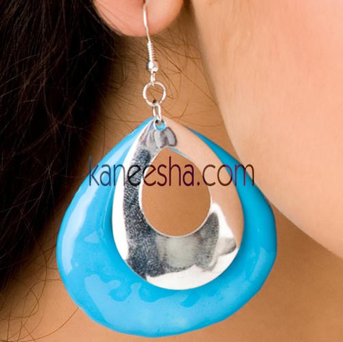 Turquoise/Silver Disc Earrings