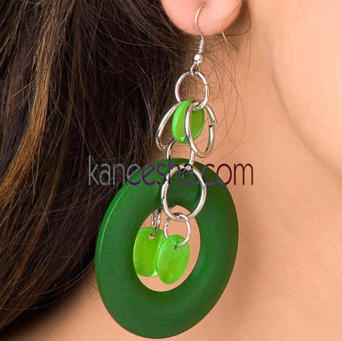 Green Disc Earrings-50% price reduction