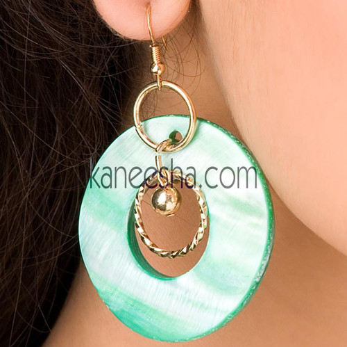 Green Marble Finish Disc Earrings