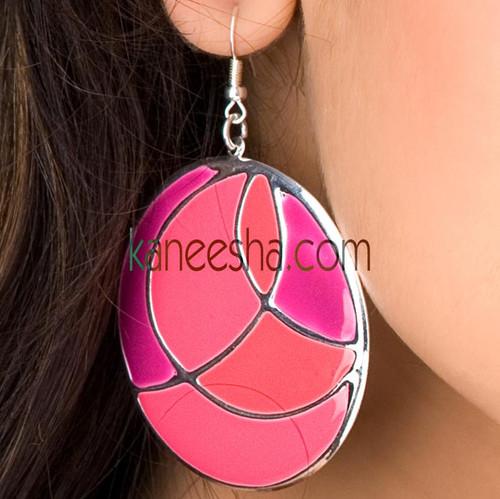 Pink Disc Earrings