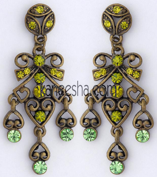Brass Fashion Earrings with Green Stones