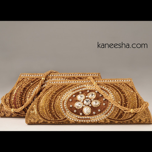 Maroon Silk Embroidered Handbag