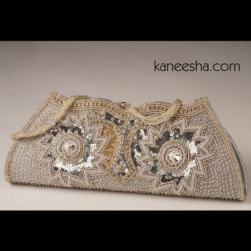 Natural Color Silk Antique Zardosi Embroidered Clutch Purse