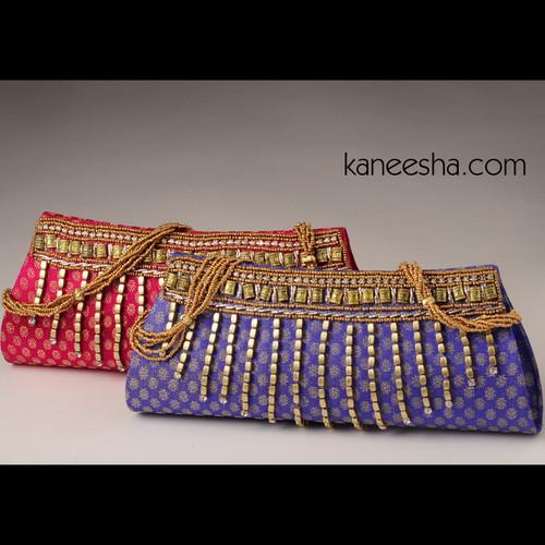 Red and Goldern Stone Silk Brocade Designer Purse