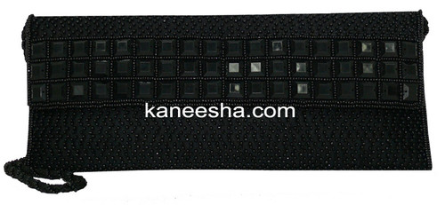 Black Beaded Designer Clutch