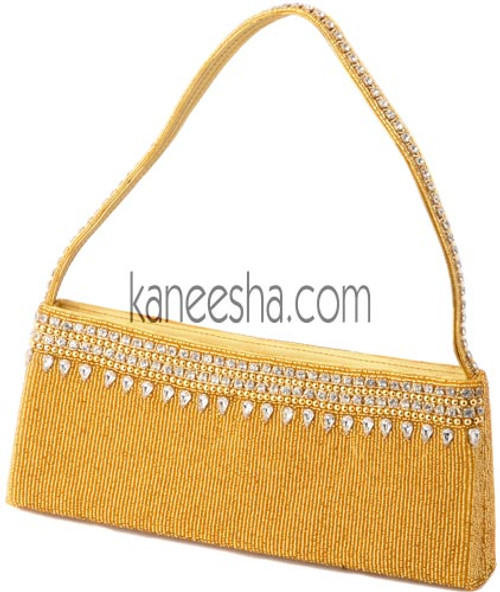 Golden Sequined Bridal Purse