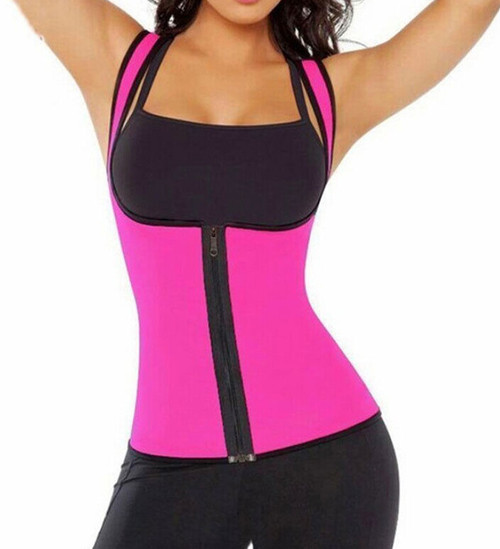 Hot Pink Waist Trainer Front Zipper for Women Neoprene Body Shaper for Gym Workout Waist Training FREE Shipping.