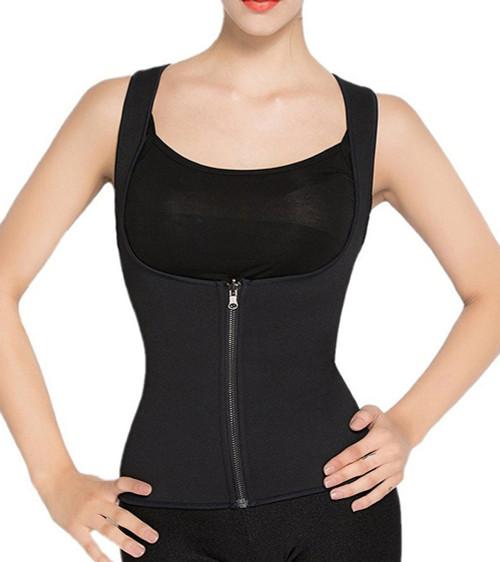 Black Waist Trainer Front Zipper for Women Neoprene Body Shaper for Gym Workout Waist Training FREE Shipping.