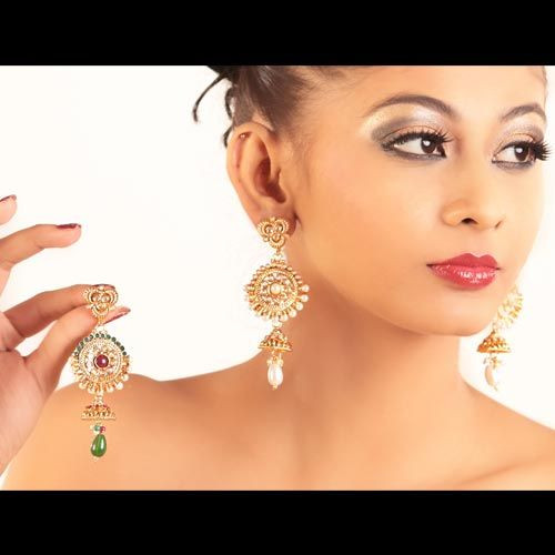 Magnificent Gold & Pearl Indian Earrings