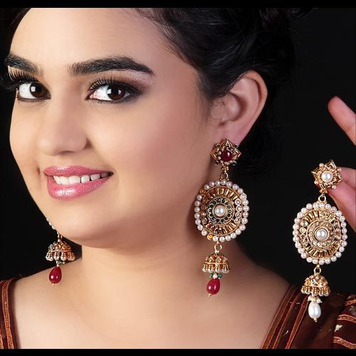 Dazzling Pink Indian Wedding Earrings