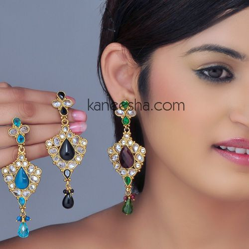 Captivating Gold Plated Indian Costume Earrings