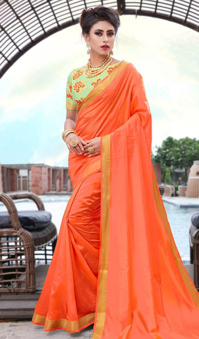 Orange Color Shaded Silk Printed Sari