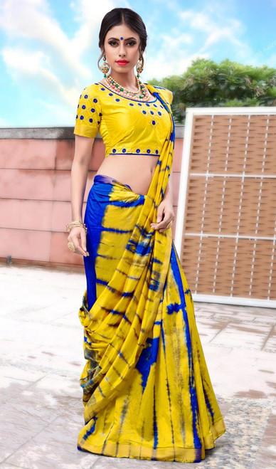 Yellow Color Shaded Silk Printed Sari