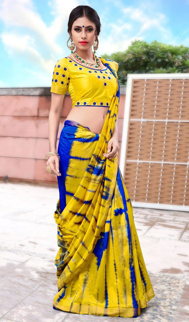Yellow Color Shaded Silk Printed Sari