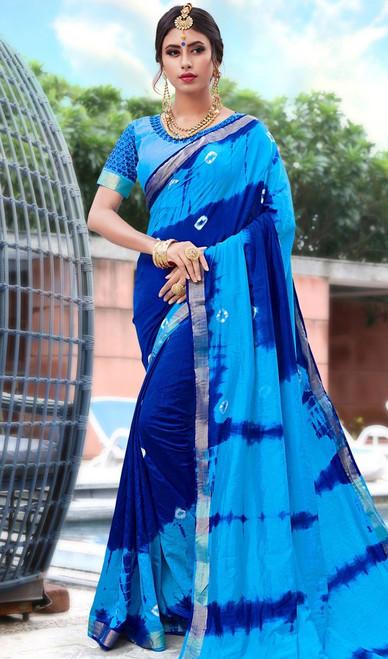 Printed Sari in Multicolor Shaded Silk