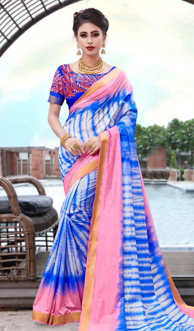 Blue Color Shaded Silk Printed Sari