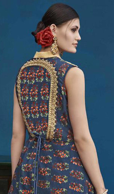 Navy Blue and Maroon Color Silk Designer Suit