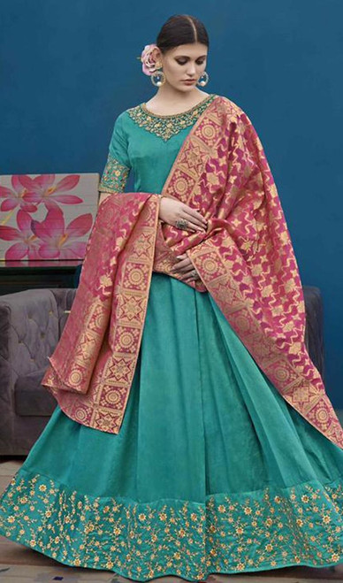 Aqua Green Color Embroidered Silk Anarkali Suit