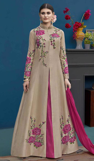 Beige and Pink Color Silk Embroidered Suit