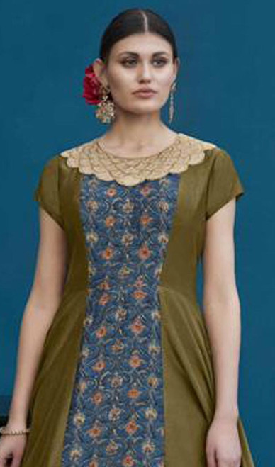 Mehendi and Blue Color Shaded Silk Long Suit