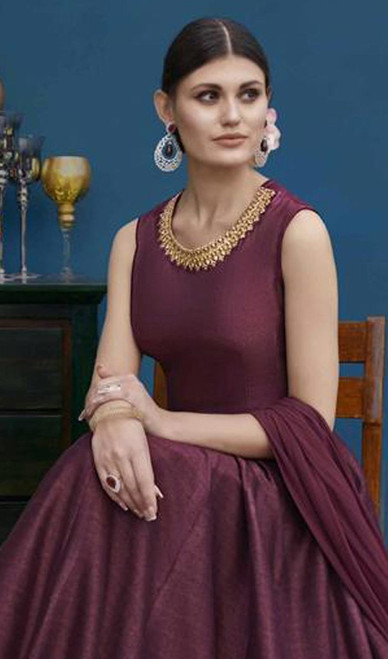 Maroon Color Anarkali Suit in Shaded Silk