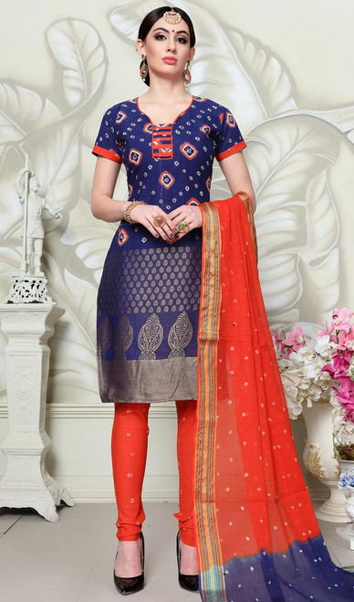 Blue Color Shaded Satin Cotton Churidar Suit