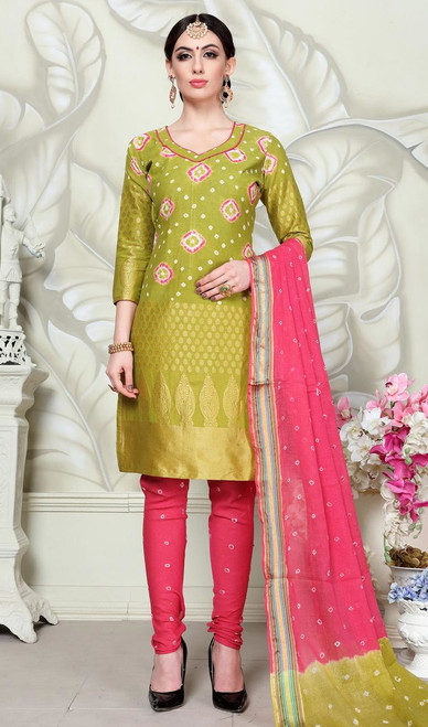Green Color Satin Cotton Churidar Dress