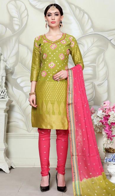 Green Color Satin Cotton Churidar Dress