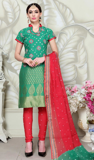 Churidar Suit in Green Color Satin Cotton
