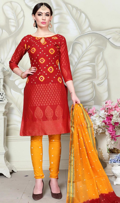 Red Color Embroidered Satin Cotton Churidar Suit