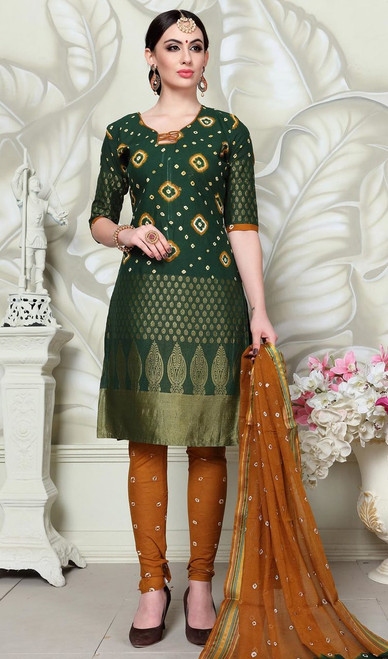 Green Color Shaded Satin Cotton Churidar Suit