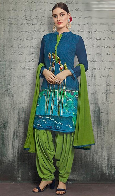Blue Color Shaded Rayon Patiala Suit