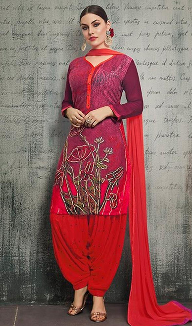 Red Color Shaded Rayon Patiala Dress