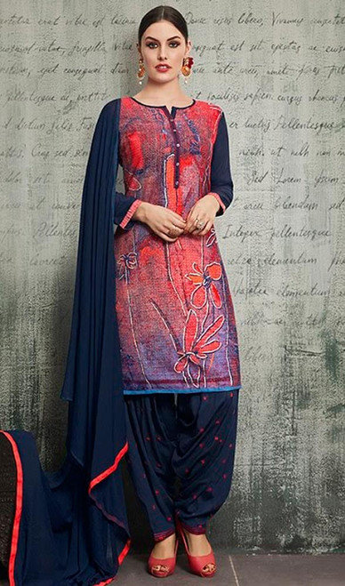 Red and Blue Color Rayon Punjabi Suit