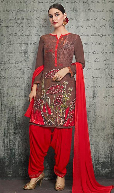 Brown Color Shaded Rayon Punjabi Dress
