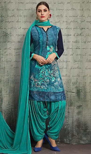 Sea Green Color Shaded Rayon Patiala Suit