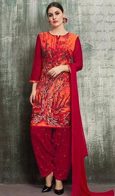 Red Color Shaded Rayon Patiala Suit
