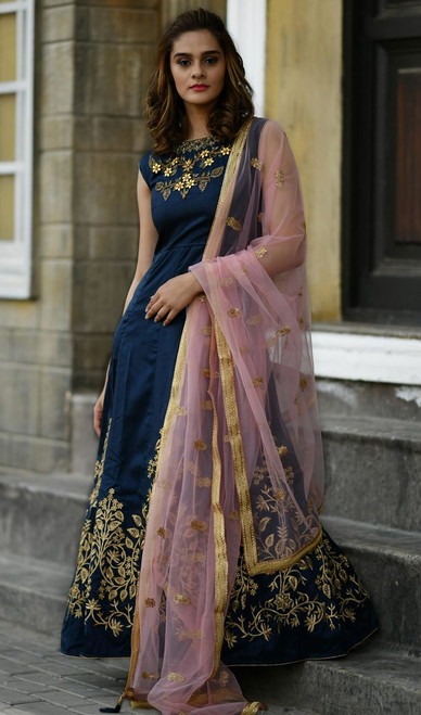 Navy Blue Color Embroidered Silk Anarkali Suit